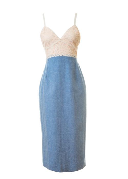 Edie Camisole Slip Dress Front Blue:Cream